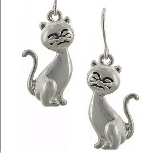 New - Kitty Cat Drop Earrings Silver-tone